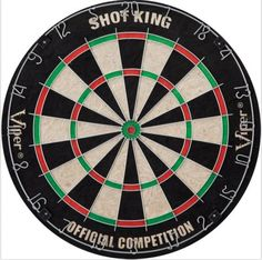 The sturdy and well-constructed Shot King dartboard is a great choice for your downstairs rec room or garage. The board offers a classic self-healing surface constructed of sisal fibers, with a staple-free bulls-eye to help minimize bounce outs. The movable number ring, meanwhile, helps extend the board life. And as a bonus, the Shot King accommodates both steel and soft-tip dart sets.
