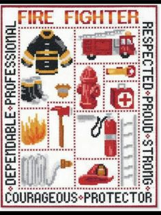 This pattern comes from the leaflet Fire Fighter Picture number 51381 from Candamar Designs, Inc. The pattern displays a sampler for the occupation of a Fire Fighter. Counted Cross Stitch Kits, Cross Stitch Charts, Cross Stitch Designs, Cross Stitch Patterns, Plastic Canvas Crafts, Plastic Canvas Patterns, Cross Stitching, Cross Stitch Embroidery, Fireman Quilt