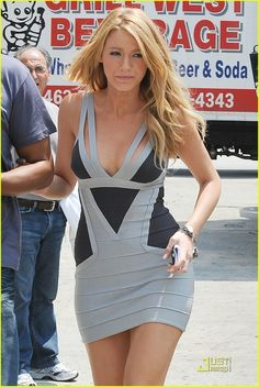 Blake Lively wearing a BCBG Max Azaria Herve Leger bandage dress. I absolutely love this dress!