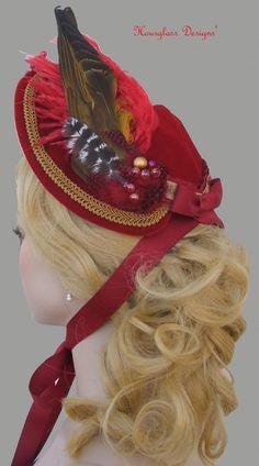 Red Silk Velvet Victorian 1870's Louise Bonnet for Bustle Dress Steampunk Costume