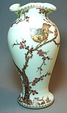 Opaque Glass Decorated Vase Webb or Harrach Decorating Vases, Vases Decor, Vintage Vases, Vintage Antiques, Beautiful Birds, Beautiful Things, Bohemian Art, Glass Company, Antique Glass