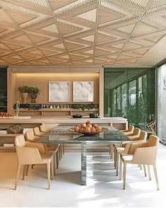Le Riad, Bamboo Panels, Roof Ceiling, Hotel Interiors, Ceiling Design, Home Art, Home Kitchens, Dining Table, House Design