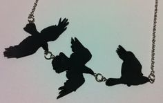 Polymer clay bird/raven necklace. Tris's tattoo necklace from Divergent.