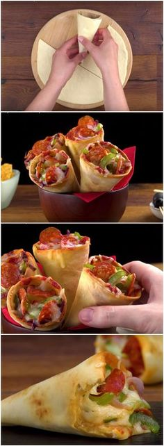 Pizza Cone all time The latest recipes and sweet suggestions. Pizza Recipes, Appetizer Recipes, Cooking Recipes, Pizza Snacks, Pizza Pizza, Appetizers, Pizza Cones, Pizza In A Cone, Clean Eating Snacks