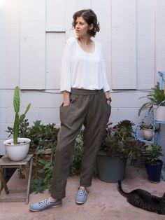 Damen Paperbag Hose Chiffon Stoffhose Sommerhose Röhre Bundfalte Hosen Gr.34-40