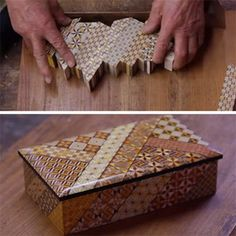 The Fine Art of Japanese Parquetry ... using razor-thin slices of wood mosaics to make veneers to decorate boxes or other items