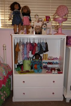 Old Dresser Turned Into American Girl Doll Storage/display! Love The  Storage, But A Full Dresser Would Take Up Too Much Space