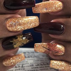 30 Thanksgiving Nail Art Ideas to Set Major Mani Goals - Thanksgiving Nails, French Nails Glitter, Fall Acrylic Nails, Autumn Nails, Fall Nail Art, Fall Nail Colors, Glitter Nails, Cute Fall Nails, French Manicures, Thanksgiving Nail Designs