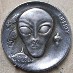 Robert Shamey - Alien Hobo Nickel, Outer Space, Aliens, Monsters, Sci Fi, Carving, Box, Unique, Creative
