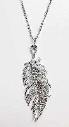 Crystal & Silver Feather Pendant Necklace