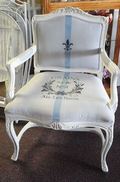French Berger Chair, chalk painted in a mix of Old White and a little French Linen and accented in places with silver gilding... Seat was chalk painted in ASCP's Paris Grey & a blue mix I created, for a stripe for a French Grain Sac look.