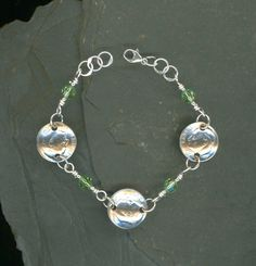 30th Birthday Gift For Women 1987 Dime August Peridot Green Birthstone Bracelet Anniversary Jewelry