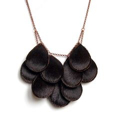 Pepitas, Furry Leather Necklace, Brown-black