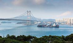 A CMA CGM ship in Hong Kong bay.