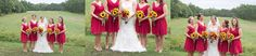 Bridesmaids in short, red lace dresses.