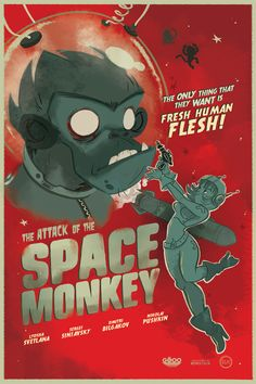 Beware of the Space Monkey attack! Take your retro laser gun and let's fight them back!