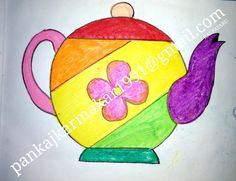 Easy teapot painting with oil pastel by Pankaj Karmakar Drawing Tutorials For Kids, Easy Drawings For Kids, Drawing For Kids, Cute Drawings, Easy Painting For Kids, Easy Art For Kids, Children Painting, Oil Pastel Paintings, Oil Pastel Art
