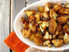 baked cauliflower and sweet potatoes
