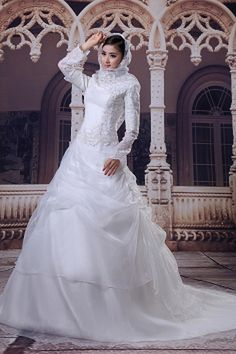Traditional Long Sleeves A-line Full Length White Organza Muslim Bridal Dresses Cheap Lace Wedding Dresses, Arabic Wedding Dresses, Wedding Dress Prices, Arab Wedding, Wedding Dresses 2014, Bridal Dresses, Evening Dresses, Formal Dresses, Silhouette