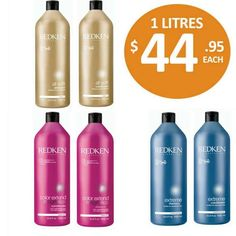 REDKEN one litre shampoo and conditioner bottles now avaliable in All Soft, Extreme and Colour Extend. $44.95 each. For a very limited time only!