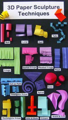 UnicornHatParty: Kids DIYs by truebluemeandyou • DIY Paper Sculpture Infographic You can find this... Sculpture Techniques, Sculpture Lessons, Sculpture Projects, Middle School Art, Art School, Diy Pour Enfants, Classe D'art, Papier Diy, Art Lessons Elementary