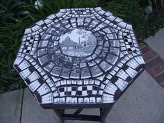 Broken Pottery Mosaic Table | Black and White Broken China Mosaic Table by TheMosaicButterfly, $95 ...