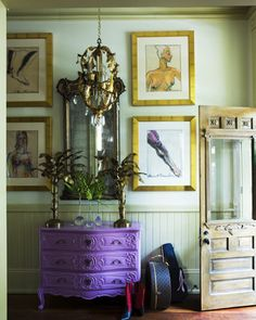 I would paint the dresser a french country blue and the walls and antique white.