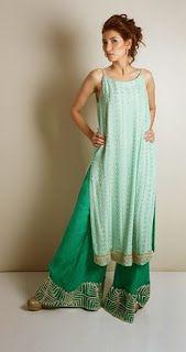 Z Fashion Trend: LONG SILK KURTA WITH PALAZZO