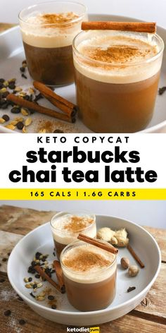 Amazing Keto Chai Tea Latte Starbucks Copycat Recipe - A comforting keto chai tea latte made with black tea and espresso for that much needed caffeine hit! Infused with fragrant spices like cinnamon, ginger, cardamom and nutmeg — it's even better than Starbucks. Keto Recipes, Copycat Recipes, Snack Recipes, Vegetarian Ketogenic Diet, Keto Diet Review, Keto Diet Breakfast, Tea Latte, Ketogenic Diet For Beginners, Recipes For Beginners