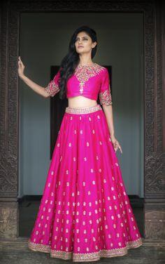 Light Lehengas - Fuchsia Pink Light Lehenga with High Neck Blouse by Mrunalini Rao | WedMeGood #wedmegood #indianbride #indianwedding #lehenga #pink #fuchsia #mrunalinirao