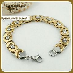 GOLD & SLVER STNLSS STEEL BRACLET ***NEW*** GOLD & SILVER BYZANTINE BRACELET Length.                      22cm Width.                        11mm Clasp.                        Lobster Shape.                      Geometric Material.                  Stainless Steel  BEAUTIFUL & SLEEK looking! This is a very IMPRESSIVE BRACELET! If this were to be put up next to any precious gold or Sterling silver bracelet, I could not tell! The weight on it also is heavy! VERY BEAUTIFUL!!! NEW SHIPMENT IN…