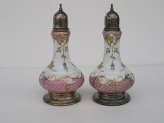Vintage Antique Enameled Hand Painted RS Prussia Porcelain Salt and Pepper Shakers