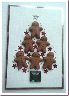 """Gingerbread Man Christmas Tree Card....approximately 4""""X6""""."""