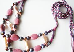 Divino Don Necklace made of rhodonite, czech glass beads and pearls. Find more at www.divinodon.com