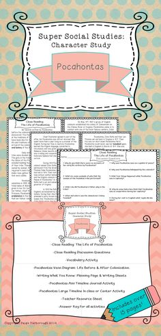 Pocahontas Social Studies Unit. Writing pages, 2 page close reading. Great for a character study ELA.