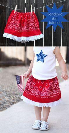 Learn how to make this bandana girls skirt for an adorable of July outfit! So easy, even a beginning seamstress can make it. If only I had a sewing machine Sewing Kids Clothes, Sewing For Kids, Baby Sewing, Diy Clothes, Kids Clothing, Little Girl Outfits, Kids Outfits, Cute Little Girls, Toddler Outfits