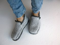 Crochet Men Slippers With Felt Soles Gray Loafer by UnaCreations