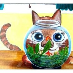 Print Of Cat Looking Into A Fish Bowl Funny Pussy Cat So Cute Gold Fish Kitchen Art Wall decor Brown Ginger Cat Tabby UK  Etsy Shop Etsy Art