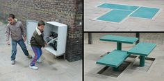 Hydraulic system outdoor furniture by Carmela Bogman and Rogier Martens. The hydraulic system allows the furniture to be fixed at any height. This means you can decide whether you want to create a bench or a picnic table.