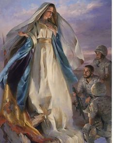 Our Blessed Mother protecting the troops. Blessed Mother Mary, Divine Mother, Blessed Virgin Mary, Catholic Art, Catholic Saints, Religious Art, Roman Catholic, Images Of Mary, Pictures Of Mother Mary