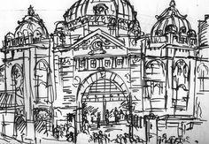 Melbourne- Flinders Street Station sketch