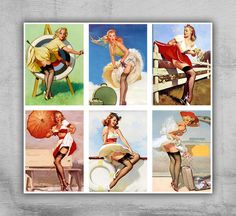 Pinup 2.5x3inch - Digital Collage Sheet - Printable Download for greeting cards, paper goods or scrapbooking - SKIRTS