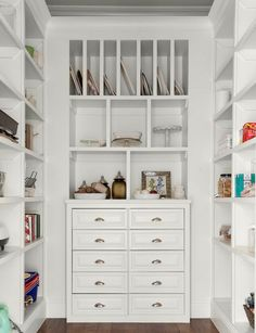 Kitchen pantry with open cabinets and drawers. Pantry with open cabinets and…