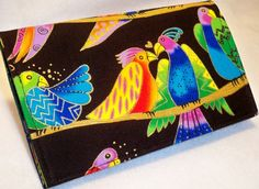 Songbirds Jungle Songs lovebirds Handmade checkbook cover made with Laurel Burch fabric Tropical Birds, Exotic Birds, Little Birds, Love Birds, Laurel Burch Fabric, Checkbook Cover, Parrots, Quality Time, Pet Birds