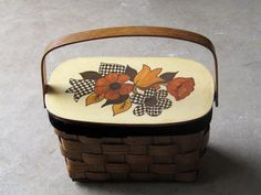 vintage wooden basket purse / wooden sewing by ShantyIrishVintage