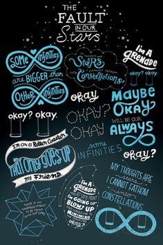 A great poster from the movie The Fault in Our Stars! Doodles and quotes from the film based on the novel by John Green. Need Poster Mounts. Hazel Et Augustus, Augustus Waters, Star Quotes, Movie Quotes, Book Quotes, John Green Quotes, John Green Books, The Fault In Our Stars, John Green Libros