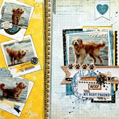 Tracee Provis designed this adorable layout of her doodle Rodney featuring the new Happy Tails collection. Love how she used the polaroid frames on the patterned paper. #BoBunny, @Tracee Farmer Provis