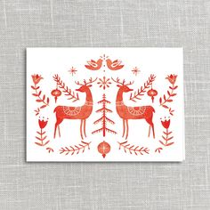 Folklore Deer Holiday Card Printable Digital Download | Julianna Swaney