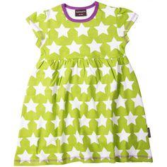 Green star dress. Love the purple trim. Made in Sweden by Maxomorra.