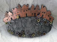 Cats watching metalwork large brooch pin by pipnmolly on Etsy, $70.00
